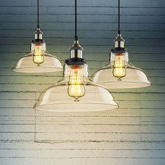 Vintage Industrial 28cm Ceiling Glass Lamp Cafe Pendant Light Kitchen Restaurant
