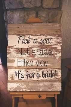 "Adorably cute seating sign for a same sex beach themed wedding ceremony. Photography: hative Instead have it say: ""Pick a seat, not a side. You're loved by both groom and bride. Cute Wedding Ideas, Wedding Goals, Fall Wedding, Our Wedding, Wedding Planning, Dream Wedding, Wedding Stuff, Wedding Inspiration, Wedding Advice"