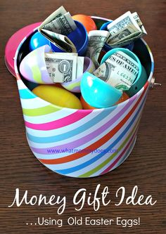 Easter basket ideas for college students pinterest basket ideas bucket full of money filled easter eggs a cute money gift idea negle Image collections