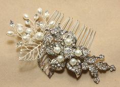 Swarovski Pearl Silver Tone Rhinestone Crystals Wedding Bridal Hair Comb on Etsy, $29.99