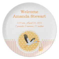 Keepsake birth plate with stork and baby girl