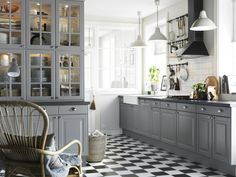 Enchanted Kitchen With Gray Cabinets Chess Board Floor
