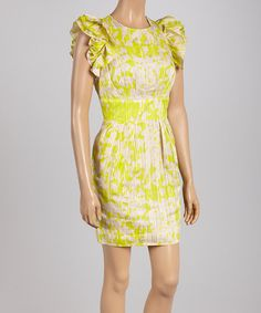 Green & Beige Ruffle Dress - Women by Jessica Simpson Collection #zulily #zulilyfinds