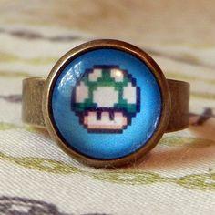 Ring - 8bit One-UP Mushroom. Super Mario Bros