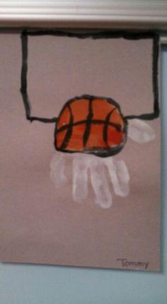Handprint basketball/net for sports week toddler art, toddler preschool, toddler crafts, Toddler Crafts, Preschool Crafts, Crafts For Kids, Arts And Crafts, Preschool Ideas, Classroom Activities, Toddler Art, Daycare Ideas, Baby Crafts