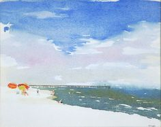 Pier on St. Andrews Watercolor, Rick Paller