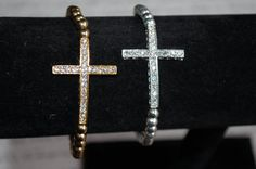 Side Cross Bracelet Gold or SIlver by StringofLove on Etsy, $20.00