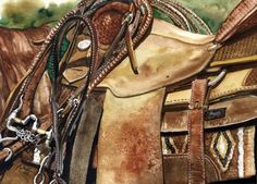 Watercolor of a saddle in detail, by Nadi Spencer.