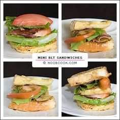 This is my cute version of BLT (bacon-lettuce-tomato) sandwiches. Actually nothing really special, just that they are served on French toast instead of plain bread, and that they are... mini, ha ha... Well, I think somehow, food tastes better when they are bite sized ;p The term BLT is more widely