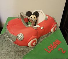 Mickey mouse car cake for my nephew. A bit rushed so mickey has seen better days but think i done well for a last minute cake.