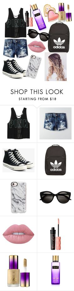 """School"" by noel7162003 ❤ liked on Polyvore featuring Victoria's Secret, American Eagle Outfitters, Converse, adidas, Casetify, Lime Crime, Benefit, tarte and Too Faced Cosmetics"