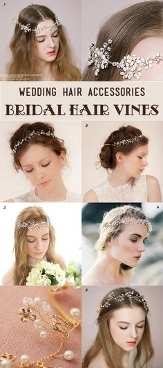 crystal and pearl hair vines for bridal hairstyles