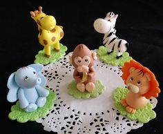 Cute Safari Birthday Decorations,  Baby Jungle Animals, Jungle Cake Toppers, Animals set for Cakes, Lion Baby Shower, Jungle Animals Cake Topper, Blue Elephant  Birthday, Giraffe Topper - Cake Toppers Boutique  - 3