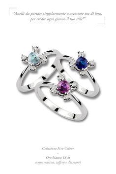 #lunatica #lunaticagioielli #zaffiro #acquamarina #ametista #orobianco #gioielli #madeinitaly #colors #precious #fashion #style #rings #anelli #mixandmatch