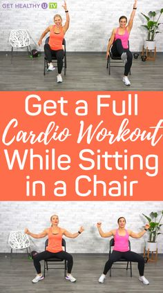 Beginner Cardio Workout, Beginners Cardio, Cardio Pilates, Easy Workouts, At Home Workouts, Yoga Workouts, Chair Exercises, Thigh Exercises, Senior Fitness