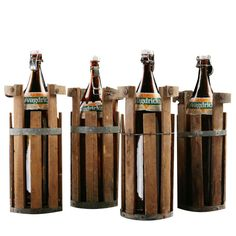 Oversized Vintage Swedish Beer Bottles with Wooden Crates