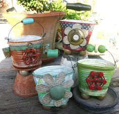 Tinnies~ embellish a tin with found objects such as vintage keys, antique door latches door and window hardware, vintage style scrapbook paper, etc.