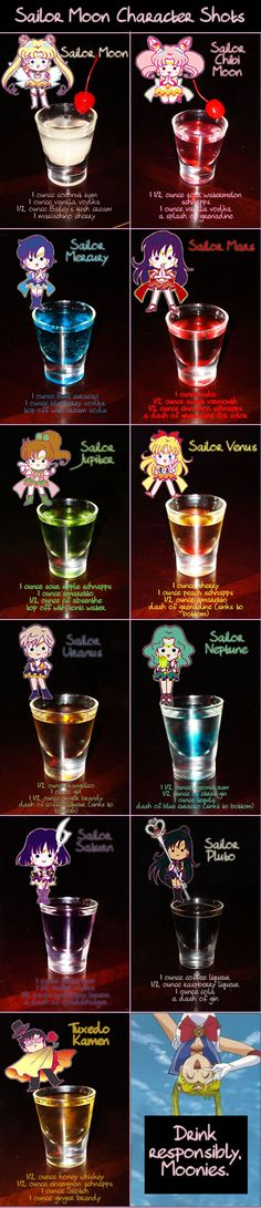 Sailor Moon Character Shots by Sailor Moon Character Shots par Sailor Jerry Dead Man's CocktailCaramel Macchiato Jell-O ShotsCitron Drop Shots # Shots # Drops # Citron Sailor Moon Party, Sailor Moon Wedding, Bar Drinks, Cocktail Drinks, Yummy Drinks, Beverages, Sailor Moon Character, Sailor Jerry, In Vino Veritas