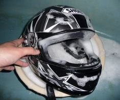 Whether you're a new or experienced rider, chances are you're going to have a smelly/dirty helmet after all the motorcycle riding you've done. A lotta people ask how to clean . Motorcycle Safety Gear, Motorcycle Salvage, Womens Motorcycle Helmets, Motorcycle Equipment, Custom Motorcycle Helmets, Racing Helmets, Biker Helmets, Motorcycle Mechanic, Motorcycle Quotes