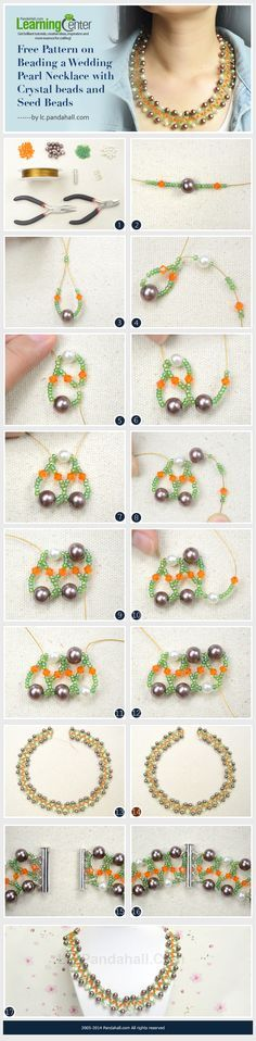 Free Pattern on Beading a Wedding Pearl Necklace with Crystal beads and Seed Beads
