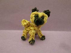 Rainbow Loom Pug Dog or Puppy Charm. 3-D