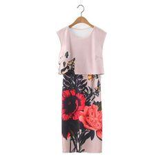 Women Sweet Flower Print two pieces sheath Dresses Hot Brand O-Neck Sleeveness Ladies Vintage knee length shift Dress