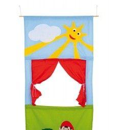 Poppenkast voor in de deur ; Deze stoffen poppenkast past tussen de deur, eenvoudig ophangen en spelen maar