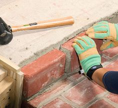 Brick over concrete- how to. Perfect for new front steps to keep brick level and not be slippery. Patio Steps, Cement Steps, Brick Steps, Painted Concrete Steps, Concrete Front Steps, Outdoor Steps, Garden Steps, Brick Porch, Porch Columns