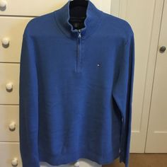 Men's Waffle Knit Tommy Hilfiger Sweater Beautiful medium blue 100% cotton waffle knit sweater. See close up pictures. Excellent condition. Maybe wore 2-3 times. Tommy Hilfiger Sweaters