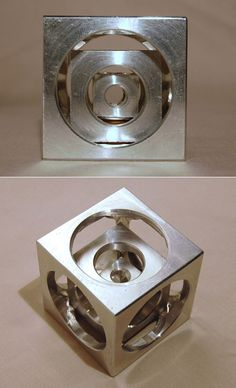 Machinists have a little exercise that was purportedly once used to evaluate an apprentice's competence. It was something like a belt test in Karate, except you'd use a lathe. The apprentice would be shown the object pictured up top (appropriately called a Turner's Cube), was given no instructions, and asked to crank one out on their own.