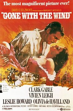 A perennial favorite and always a pleasure to watch! Vivien Leigh and Clark Gable are truly Scarlett O'Hara and Rhett Butler. Best Movie Posters, Classic Movie Posters, Classic Movies, Film Posters, Rhett Butler, Scarlett O'hara, Old Movies, Vintage Movies, Wind Movie
