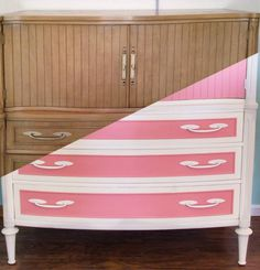 Pink and Ivory Plaster Painted Vintage Dresser Before and After