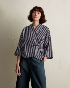 Buy Toast Wide Stipe Kyoto Top, Navy from our Women's Shirts & Tops range at John Lewis & Partners. Batik Fashion, Hijab Fashion, Fashion Outfits, Womens Fashion, Parisian Fashion, Fashion 2016, Bohemian Fashion, Fashion Clothes, Fashion Fashion