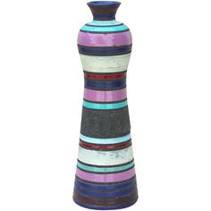 Ettore Sottsass for Bitossi Banded Italian Art Pottery Vase with... ❤ liked on Polyvore featuring home, home decor, vases, colored vases, pottery bottle, italian vases, pottery vases and italian home decor