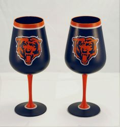 Chicago Bears Inspired Hand Painted Wine Glasses - Set of 2