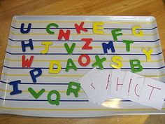 ABC race with letter magnets and letter cards