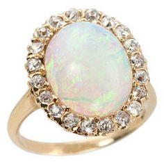 Victorian Opal Diamond Gold Cluster Ring Circa 1900s