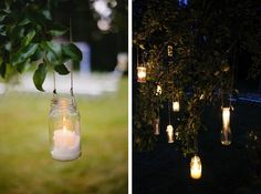 Hang candles in mason jars or other glass vessels to light up your outdoor wedding.