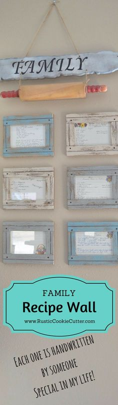 Family Recipe Wall - Framed handwritten recipe cards from significant loved ones!