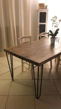 atelier ripaton hairpin legs diy table haute r alis e avec un plateau bois brut et des pieds. Black Bedroom Furniture Sets. Home Design Ideas