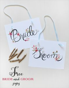 free bride and groom signs