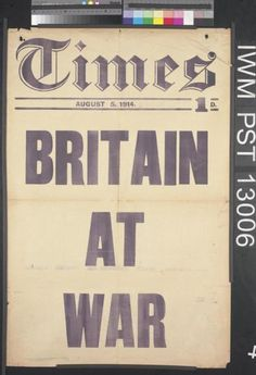 On this day in 1914, from the Imperial War Museum. Britain War (Art.IWM PST 13006)
