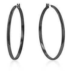 2 Standard Black Hoop Earrings
