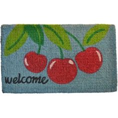 Invite guests into your home with this charming door mat. This handmade welcome mat features a bright cherry design and a cheerful greeting. Color: Blue/red/green Materials: Coir Quantity: One mat Cherry Baby, Cherry Cherry, Cherry Ideas, Cherry Tree, Welcome Flowers, Cherries Jubilee, Fru Fru, Outdoor Doors, Coir Doormat