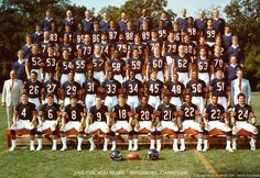 The 1985 Bears rapped and shuffled their way to a win over New England in Super Bowl XX in 1986 with a colorful cast of characters, perhaps the greatest single-season achievement by any pro sports team in Chicago history. 1985 Chicago Bears, Chicago Bears Super Bowl, Chicago Cubs, Chicago Illinois, Bears Football, Football Stuff, Football Baby, Football Team, Football Memes