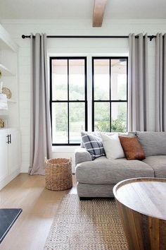 Looking for for ideas for farmhouse living room? Browse around this site for amazing farmhouse living room inspiration. This specific farmhouse living room ideas looks entirely terrific. Design Living Room, Home Living Room, Living Room Decor, Living Room Windows, Living Room With Gray Walls, Curtain Ideas For Living Room, Curtains Living, Farmhouse Style Kitchen, Modern Farmhouse Kitchens