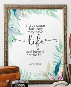 John 10:10 Nursery bible verses Scripture art von TwoBrushesDesigns