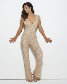For a nontraditional look for #prom, rock a jumpsuit like this sparkly Mac Duggal style 4378M Nude