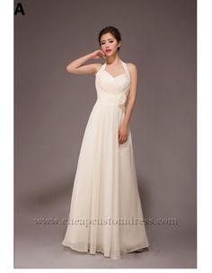 6 Custom Floor Length Champagne Chiffon Bridesmaid Dresses : Cheapcustomdress.com