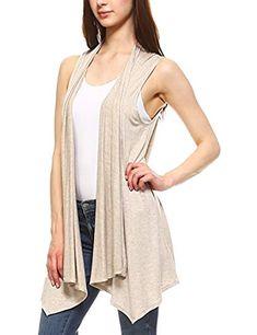 Women's Lightweight Sleeveless Open Drape Cardigan Vest
